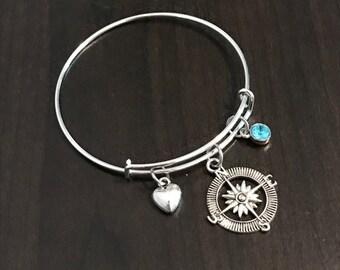 Friendship Bracelet - C172 - Compass Bangle Bracelet - Friendship Jewelry - Personalized Gem Stone - BFF Bangle - Friendship Jewelry Compass
