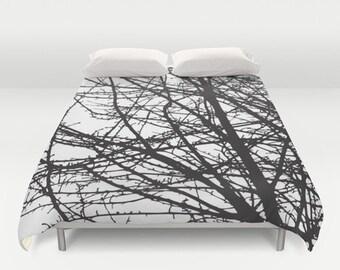 Black and White Tree Branches Modern Duvet Cover - Queen Size Duvet Cover - King Size Duvet Cover