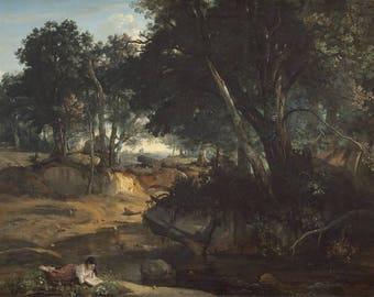 Jean-Baptiste-Camille Corot : Forest of Fontainebleau (1834) Canvas Gallery Wrapped Giclee Wall Art Print (D45)
