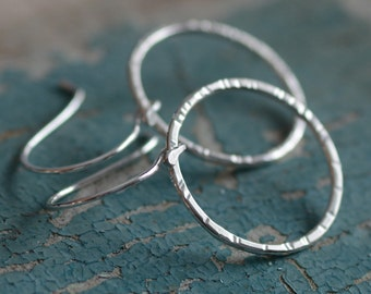 Chunky Silver Hoop Earrings Hammered and Textured Sterling Silver Artisan Earrings Shiny Dangle Hoop Earrings Classic Everyday Jewelry