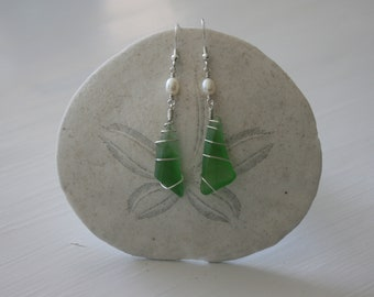 Green Recycled Glass Earrings with White Pearls