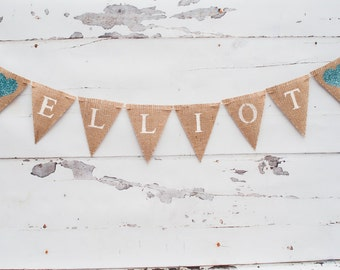 Burlap Name Banner, Name Banner, Personalized Name Banner, Nursery Decor, Heart Name Banner, B081