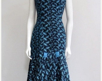 Emma Domb / Emma Domb Dress / 50s Dress / Black Blue / Wiggle Dress / Mad Men / Mad Men Dress / Back Bow Dress / Dress for Wedding