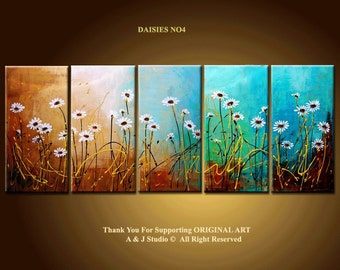 60'' Original Contemporary Palette Knife Fine Art Painting Abstract Textured 60x24