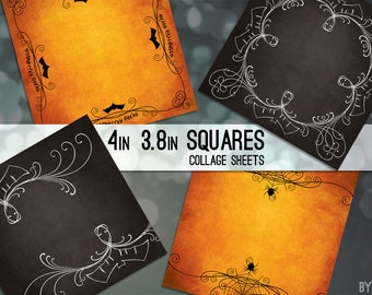 """Halloween 3.8"""" and 4x4 Inch Square Digital Collage Sheet Printable Download Scrapbooking Cards Magnets Coasters Gift Tags JPG C0039"""