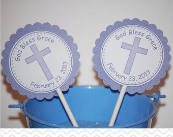 Cross Purple Baptism Christening First Holy Communion Cupcake Toppers - Set of 12 Personalized Relious Celebration Decorations