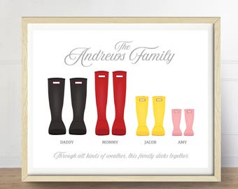 Wellies Print, Personalized Family Art, Rain Boots Art Print, Customizable Art, Family Keepsake