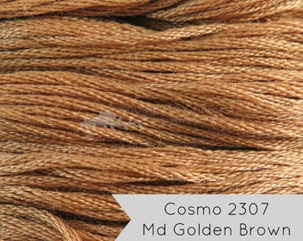 COSMO Embroidery Floss - No. 2307 Medium Golden Brown  Lecien Cosmo 6 Strand Cotton Embroidery Thread for Embroidery, Quilting, Cross Stitch