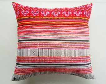 Pink Hmong Pillow Cover  - Modern Bohemian Pillows and Home Decor - Tribal Throw Habitation Boheme
