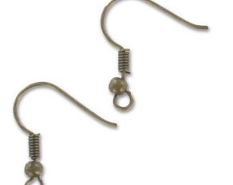 Ball 18 mm bronze earring hooks * 20