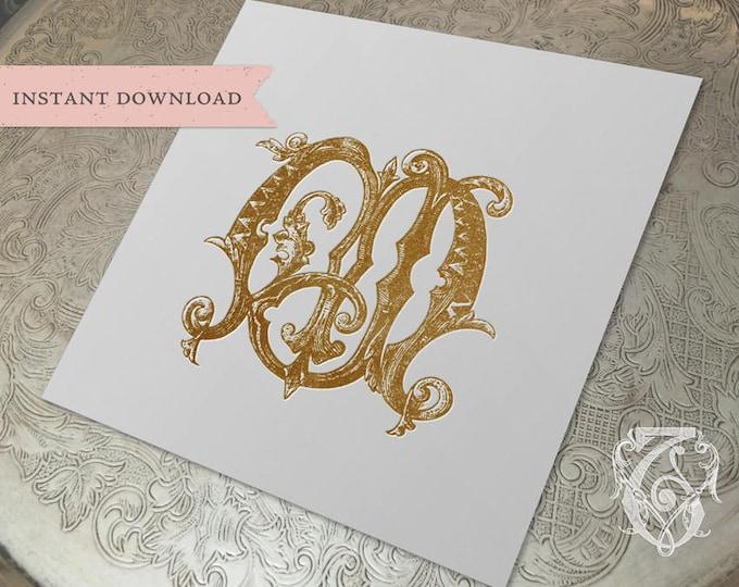 Vintage Wedding Monogram MJ JM Digital Download M J