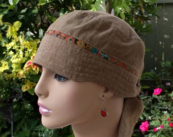 Chemo Hair Loss Hat Cancer Cap Handmade in the USA Adjustable and Reversible Chambray Cotton