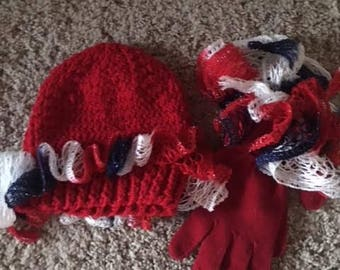 Red Knit Hat, Matching Gloves
