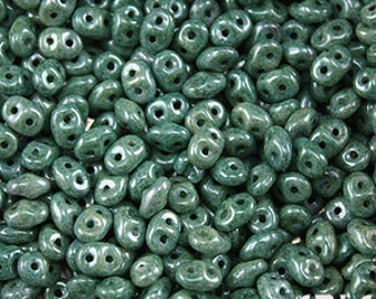 CHALK GREEN LUSTER: SuperDuo Two-Hole Czech Glass Seed Beads, 2.5x5mm (10 grams)