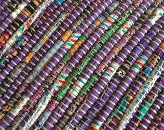 "Hand Woven Rag Rug - Scrappy Purple 26"" x 42"""