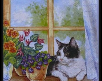 "napkin ""cat on windowsill flower"""
