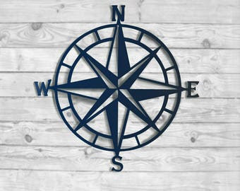 Nautical Compass Rose Metal Wall Decor  100+ Color Choices  Outdoor Metal  Art