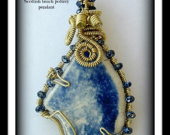 Blue Denim Ombre-beaded wire wrap weave beach pottery pendant