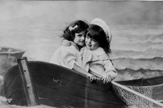 Two Girls Sisters Best Friends in a Boat Rowboat Vintage