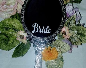Bride Etched hand Held Makeup Mirror