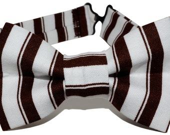 Bow Tie - Brown and White Striped Bowtie