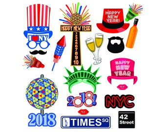 New year digital photo booth party props instant download