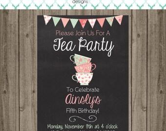 Tea Party Invitation - Tea Party Birthday Party - Tea Party Invitation - Tea Party Birthday Party