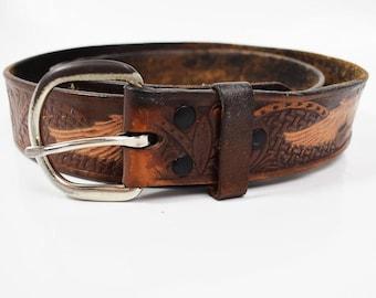 Vintage Hand Made Leather Belt Brown Size 36