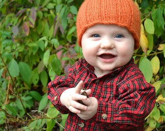 Lil Pumpkin Baby Hat PDF Knitting Pattern by Vint Hill Knits