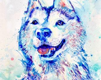 "Wolf Husky - 12x12"" print"