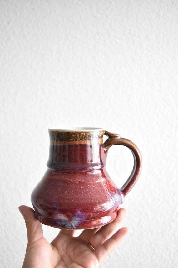 hand thrown burgandy red stoneware pottery coffee mug
