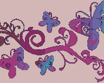 Pretty Abstract Butterflies Counted Cross Stitch Pattern for Instant Download