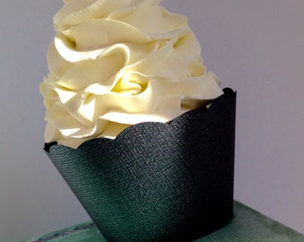 Black Pearl Cupcake Wrappers Textured Paper, standard and mini