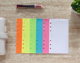 Personal inserts, printed lined sheets, colored neon paper, notepaper sheets for planner binder