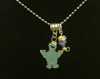 Handmade Cookie Monster Pendant Necklace with Charm