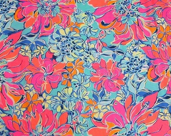 Cotton poplin fabric squares and pieces 6 X 6, 9 X 18  or 18 X 18 inches Aqua Breezy Babe / pieces   ~Lilly~ Summer  2017
