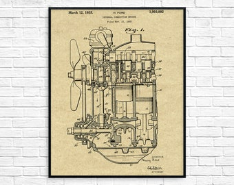Internal Combustion Engine Patent Poster, Car Part Art, Engine Art, Henry Ford, Classic Car, Car Blueprint, Mechanic Gift, Henry Ford Poster