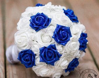 Royal blue winter wedding bouquet, horizon blue bridal bouquet with snowflakes, glitter winter bouquet, winter wonderland wedding bouquet