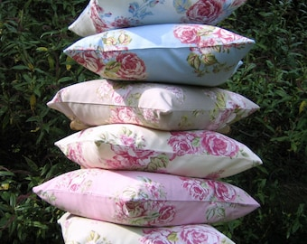 "Pillow Cover, cottage chic, cushion cover,  16x16"" or 18x18"", Pink,Taupe, Blue, Sage Green, White, Roses Pillow Cover, Roses Cushion Cover"