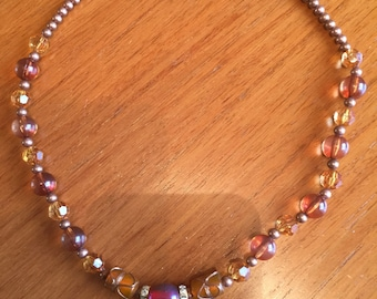 Beaded necklace amber colour