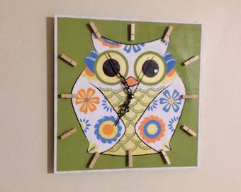Birthday gift idea. OWL Clock, FUN and Colorful Kids Clock, Funny Wood Wall Clock, Baby Nursery, Kids bedroom decor
