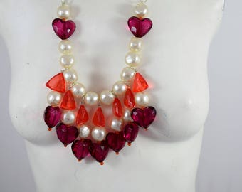 Oversize Statement Necklace | Bib Necklace | Fashion Necklace | Chunky Beads Necklace | Red Purple Pearled-Beads | Hand-Made | One-of-a-Kind