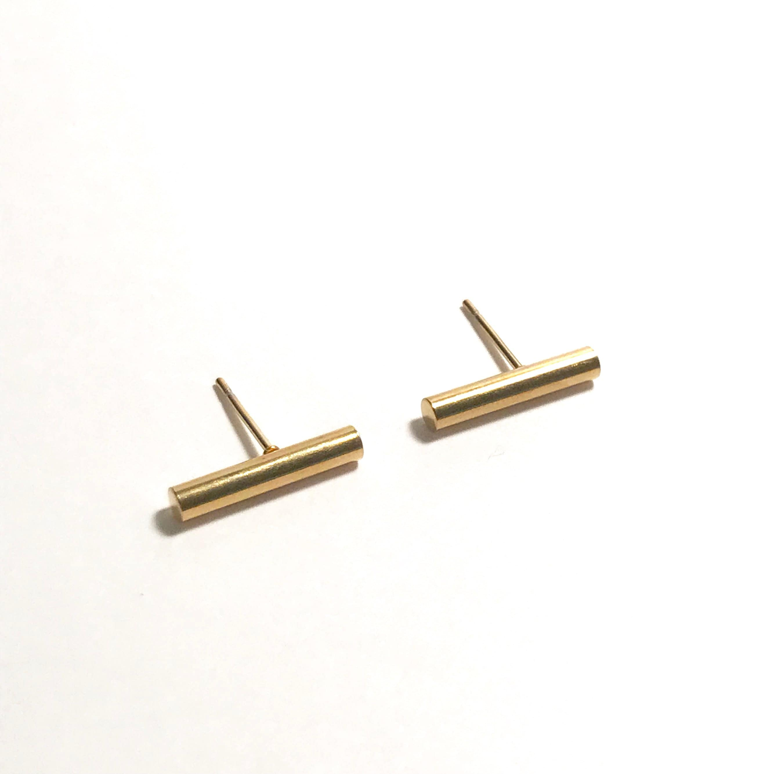 and line vrai gold yellow stud jewelry oro products solid classic earrings simple minimalist