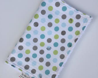 Baby Boy CHENILLE BURP CLOTH   - -  Blue and Gray  - -  Windy Day