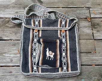 Vintage 70s Woven Purse - Llama Alpaca - Shoulder Strap Handbag Bag - Boho Hippie