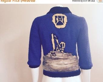 Novelty Sweater / 1960s / Cat Cardigan / Royal Blue / Mad Men / Astronaut Wives Club /
