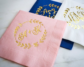 Personalized Napkins with Wreath Border, Custom Napkins, Gold Foil Napkins, Monogram Wedding Napkins, Foil Printed Napkins, Wedding Napkins