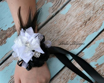 Beautiful Soft Black & White Chiffon Flower Feather Wrist Corsage   Wedding Mother of the Bride   Bridal Party   Rhinestone Prom Homecoming