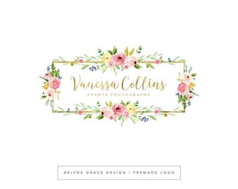Premade Logo Design - Gold Logo - Floral Flower Logo - Photography Business Logo - Calligraphy Logo - Blog Brand Logo - Branding Kit Package