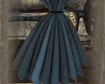 """Wool Bundle: MF Woolens Bundle of 10 pieces - 6 1/2"""" x 8"""" - Deep Teal"""